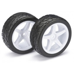ABSIMA 2500007 Wheel Set Buggy 5 Spoke / Street front white 1:10 (2)