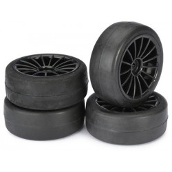 "Wheel Set Onroad ""15 Spoke / Slick"" black 1:10 (4"