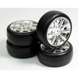 "Wheel Set Onroad ""9 Spoke / Slick"" chrome 1:10 (4)"